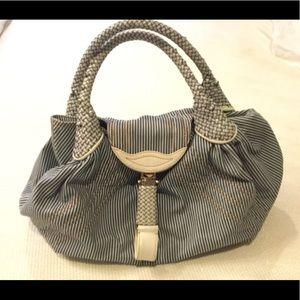 Fendi Spy Bag, denim striped material.